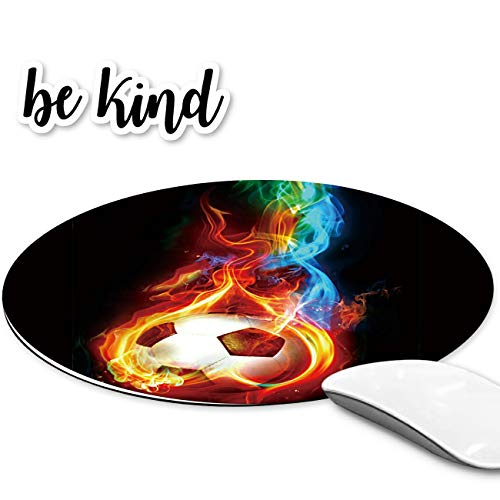 Rossy Mouse Pad, Cool Soccer Bal Pattem Design Gaming Mousepad, Customized Mouse Pads for Laptop, Computers & Office, Round Mouse Mat be Kind Stickers