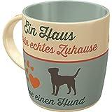Nostalgic-Art Retro Kaffee-Becher - PfotenSchild - Ein Haus ist kein echtes Zuhause, Große Lizenz-Tasse als Vintage Geschenk für Hunde-Fans, 330 ml