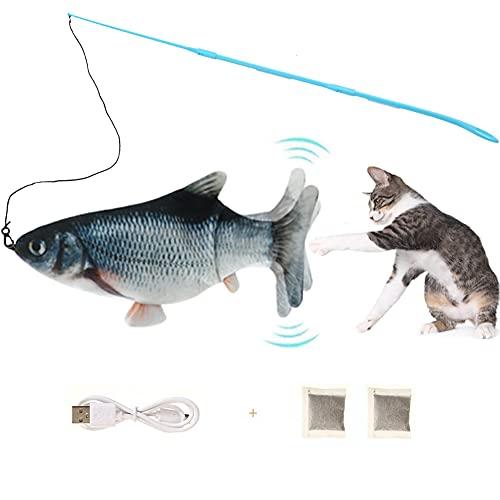 Hanbee Eléctrica Juguete Pez para Gato con Caña de Pescar, Peluche de Juguete eléctrico de simulación Fish con Carga USB, Mascotas Interactivo de Felpa Pez para Patear, Dormir, Morder, Masticar