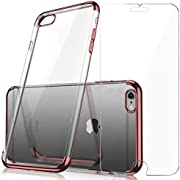 Case and Screen Protector Set Crystal Clear TPU Cover Case with Soft Shock Absorption Bumper and Tempered Glass Screen Protector