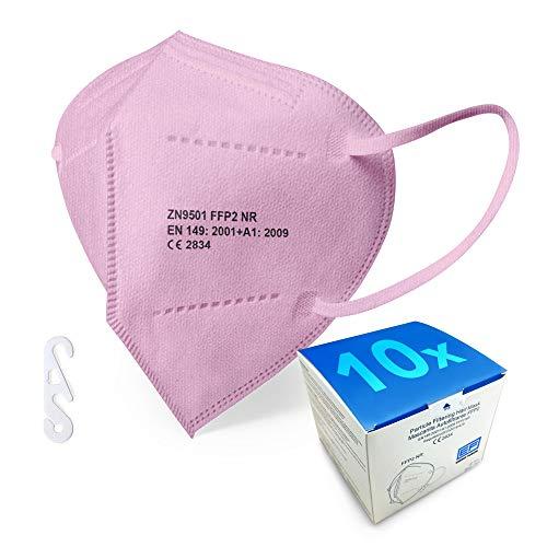 rosa FFP2 Maske - Schachtel à 10 Stück - EU CE Zertifiziert, mit verstellbarem Gummiband und anpassbarem Nasenbügel| 5 Filtrationsschichten, Schützt drinnen und draußen
