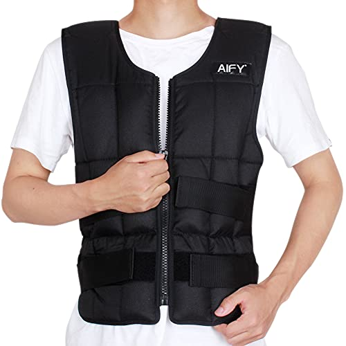 AIFY Weighted Vest, Adjustable Body Weight Vest Workout Vest for Men Women Training Fitness Walking Jogging Running Outdoor Exercise Vest One Size with Adjustable Strap Fits All, 44 Lbs, Black