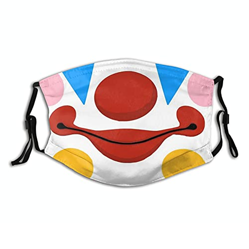 April Fools Day Clown Mouth Cloth Face Mask, Washable Adjustable Bandanas Balaclava Dust-Proof Print Reusable Fabric Mask with 2 Pcs Filters for Women Men