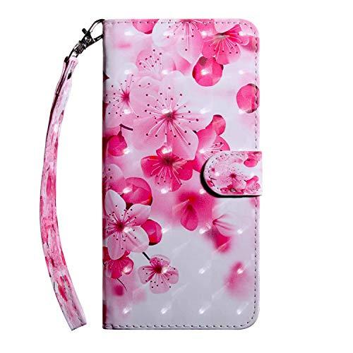 Custodia a portafoglio per Nokia 2.4, antiurto, in pelle PU, con chiusura magnetica, supporto per carte di identità, custodia protettiva in poliuretano termoplastico, fiore rosso