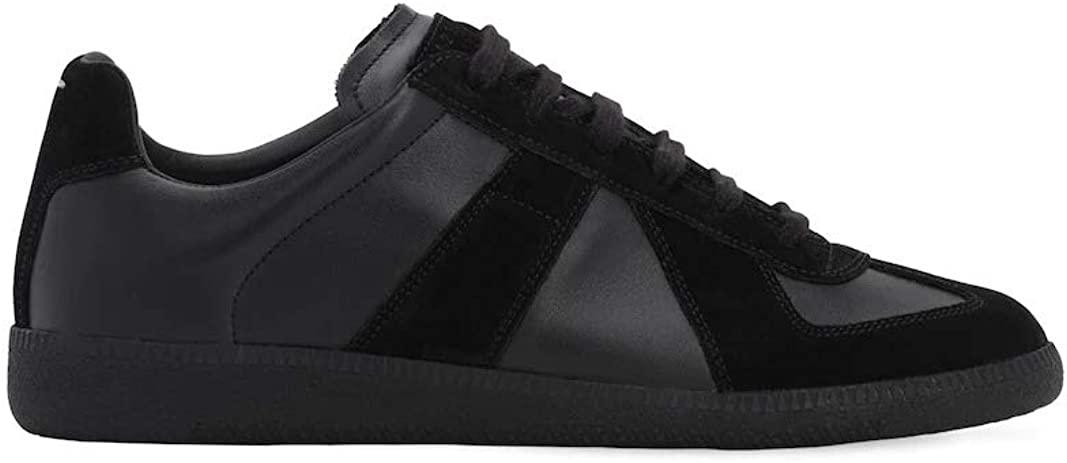 Maison Margiela Men's Black Leather and Suede Low Top Sneakers