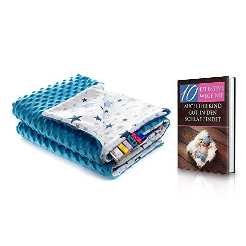 Kidizone antiallergische Babydecke, Krabbeldecke, Spieldecke, Kuscheldecke Baby Schmusedecke aus 100% Baumwolle, Taufgeschenk, Baby geschenk für die Erstausstattung oder Geburt, Decke 75x100cm blau