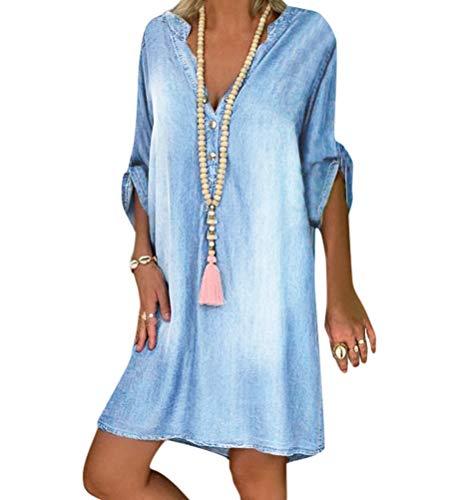 Tomwell Jeanskleid Sommerkleid Damen Jeans Kleider V-Ausschnitt Kurzarm Strandkleider Einfarbig A-Linie Kleid Boho Knielang Kleid Denimkleid Tunika Hemd Blusenkleid Hellblau M