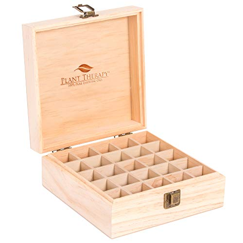 Plant Therapy Essential Oil Storage Box Case   Wooden Organizer Holds 25 Bottles 5 mL, 10 mL and 15mL Sizes   Pine Wood Holder Safe For Carrying And Home Storage Display