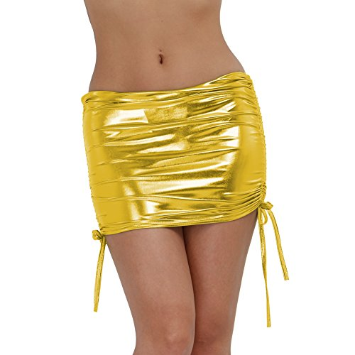 MSemis Women's Leather Shiny Metallic Liquid Wet Look Pleated Party Bodycon Mini Skirt Dress Clubwear Gold one Size