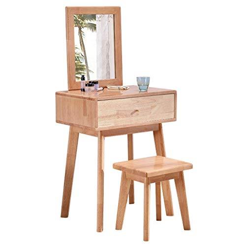 Tägliche Ausrüstung Liudan Waschtisch Schminktisch Schminktisch mit Spiegel und Holzhocker Set Make-up Schminktisch Schreibtisch 1 Schubladen Praktische Holzmöbel Naturholz Farbe Waschtisch Set mit