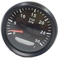 ELING Tacómetro a prueba de agua REV Contador RPM Gauge con cronómetro 0-3000RPM 85mm 9-32V con luz de fondo