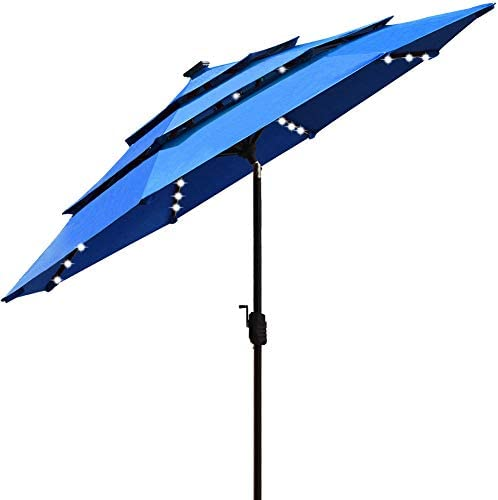 EliteShade Sunbrella Solar 9ft 3 Tiers Market Umbrella with 80 LED Lights Patio Umbrellas Outdoor product image