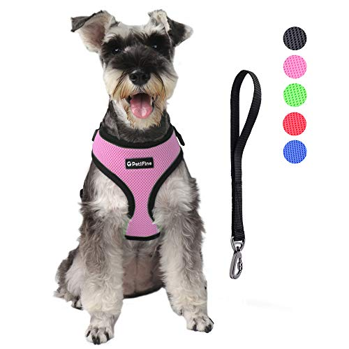 PetiFine Dog Harness with Car Safety Seat Belt, Adjustable Breathable Air Mesh Puppy Vest Harness for X- Small/Small/Medium/Large Dogs & Cats(M, Pink)