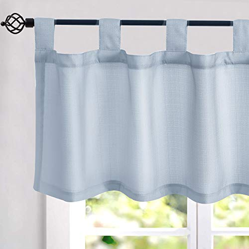 Faux Linen Textured Valance Curtains 16 inches Long Tab Top Curtains for Kitchen Living Room Bedroom Window Treatments 1 Panel Blue