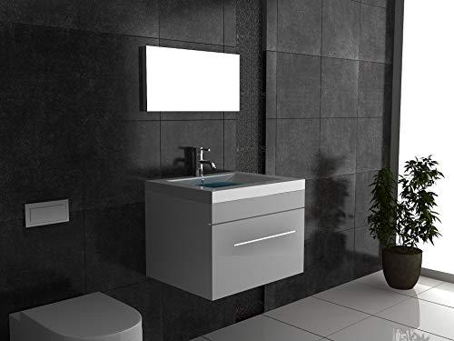 Alpenberger badkamermeubelset, wastafel van hoogwaardig gegoten mineraalgiet, incl. wastafelonderkast met softclose-functie en wandspiegel, wit voor uw perfecte en moderne badkamer