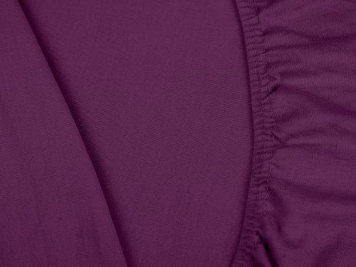 npluseins klassisches Jersey Spannbetttuch – erhältlich in 34 modernen Farben und 6 verschiedenen Größen – 100% Baumwolle, 70 x 140 cm, lila - 5