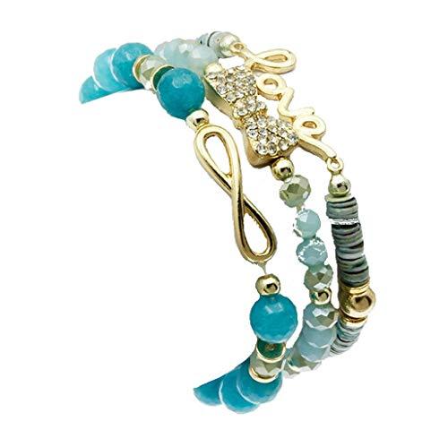 beyoutifulthings Pulsera elástica para mujer de acero inoxidable chapado en oro, 3 capas con perlas turquesas, lazo de eternidad y lazo con circonita, diámetro: 5,1 cm