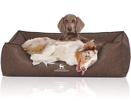 Knuffelwuff Hundebett Henderson aus marmoriertem Kunstleder XXL 120 x 85cm Braun