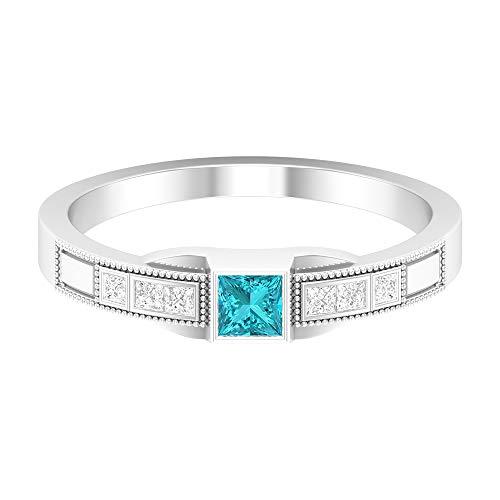 Rosec Jewels - Anillo solitario de paraiba turmalina verde con diamante, anillo de compromiso dorado (calidad AAAA), 14K Oro blanco, Size:EU 68