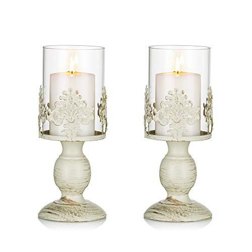 Sziqiqi Candelabro Ferro Vintage, Candelabro Ferro Romantico con Paralume per Matrimonio, Candeliere Arredamento Decorazione a Casa, S+S