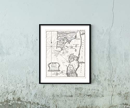 1764 Bellin of Bombay (Mumbai) India Map|Vintage Fine Art Reproduction|Size: 20x24|Ready to Frame