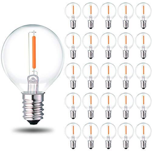 25 Stück G40 LED Lichterkette Ersatzlampe E12 Schraubsockel Warmweiß 2700K Retro Style Klarglas Leuchtmittel dimmbar