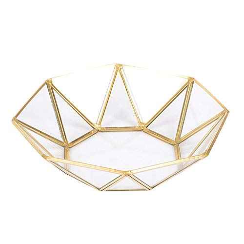 EFQT dienblad glas geometrie opslag lade eenvoud stijl huisorganisator voor sieraden ketting dessert plaat Goud