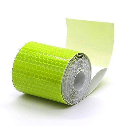 2 rollos de cinta adhesiva reflectante para seguridad y señalización de seguridad, color amarillo, 5 x 300 cm