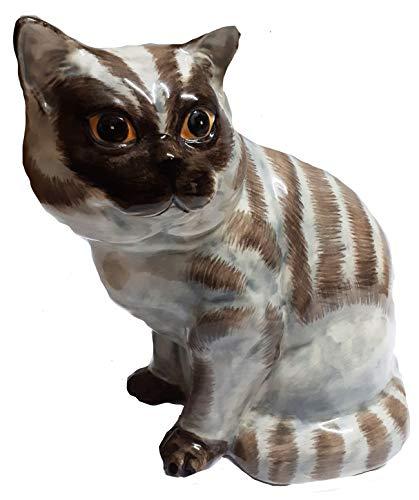 B2SEE LTD Große Keramik - Kater Tiger Katze Shorthair - Spardose - Sparschwein - Tresor - Geschenk Figur Originell Eyecatcher Geld Katze ca 25 cm Dia