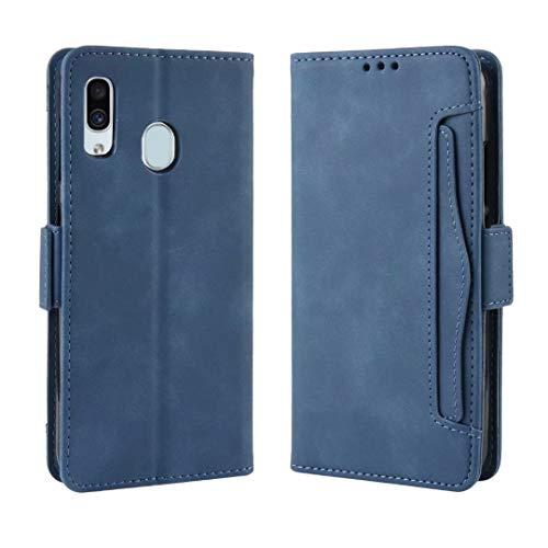 WVYMX ケース for Galaxy A30, Book Style レザー 手帳型 ケース マルチ カラー カード収納 保護フィルム 付 スタンド機能付き For Samsung Galaxy A30 Blue