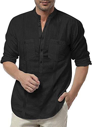 Mensleben Guayabera Hemd Herren Langarm Leinenhemd in Kubanischen Stil Halbknopfverschluss Freizeithemd Cuban Camp Shirt Party Hochzeit Event Hemd