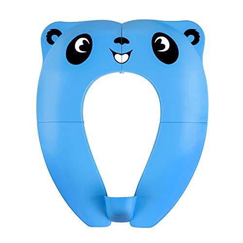 Vasino Portatile da Viaggio Sedile per Bambini Riduttore WC Toilette Pieghevole con 8 Cuscinetti Antiscivolo In Silicone e 1 Borsa per il Trasporto per Prevenire la Diffusione di Germi (Blu)