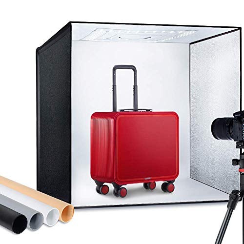 "ESDDI Photo Studio Light Box 24""/60cm Adjustable Brightness Portable Folding Hook & Loop Professional Booth Table Top Photography Lighting Kit 120 led Lights 4 Colors Backdrops"