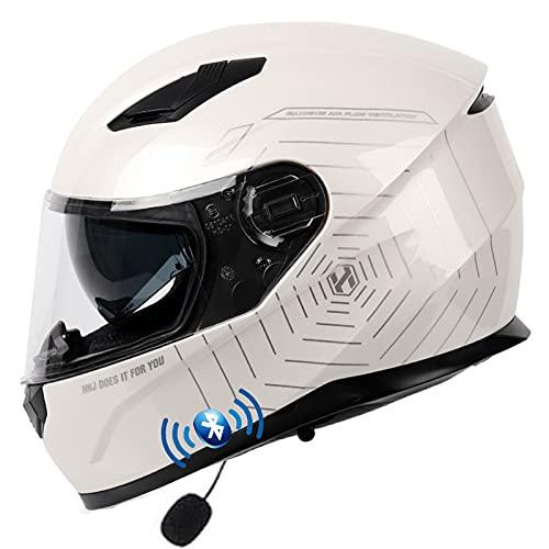 ABDOMINAL WHEEL Casco De Moto Bluetooth Integrado,Casco De Moto Modular con Doble Visera,ECE Homologado Cascos De Motocicleta,Adultos Hombres Mujeres Casco Moto Integral para Motocicleta A,XL=57~59cm