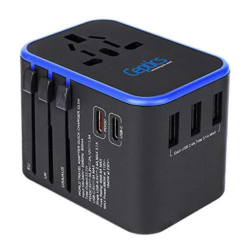 World International Travel Plug Adapter by Ceptics - Powerful 33.5W with Pd...