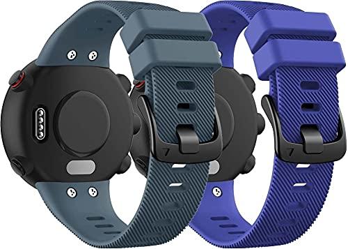 Correa de Reloj de Silicona Suave Compatible con Garmin Forerunner 45 / Forerunner 45S / Swim 2, Repuesto Ideal (2-Pack I)