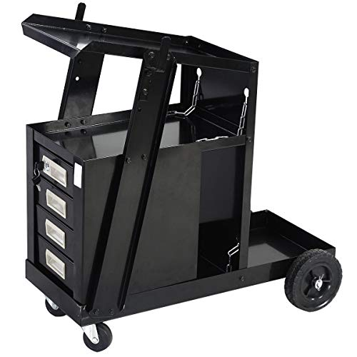 ReunionG Welder Cart with 2 Safety Chains MIG TIG ARC Plasma Cutter Tank Storage, 100 Lb Capacity, Portable 4-Drawer Cabinet