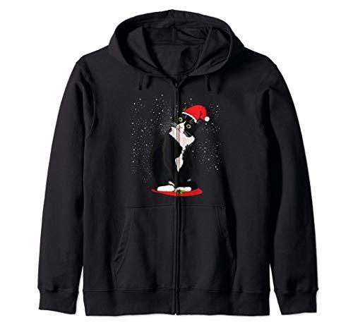 Tuxedo Cat Christmas Santa Claus Snow Winter Costume Gift Zip Hoodie