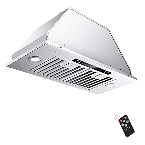 IKTCH 36 inch Built-in/Insert Range Hood 900 CFM, Ducted/Ductless Convertible Duct, Stainless Steel Kitchen Vent Hood with 2 Pcs Adjustable Lights and 3 Pcs Baffle Filters