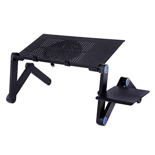 Práctica mesa plegable ajustable plegable de aluminio portátil mesa soporte de escritorio soporte con ventilador de refrigeración almohadilla de ratón para la cama Lapap PC