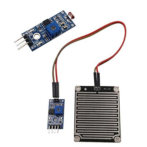 F Fityle Módulo Fotosensible de 5 V Resistencia Dependiente de La Luz + Módulo Sensor de Caída de Lluvia Utiliza Materiales de Doble Cara Fr-04 de Calidad