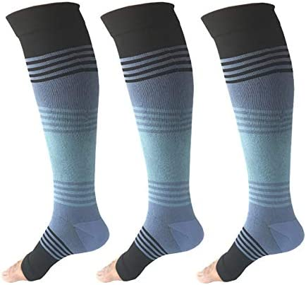 Open Toe Compression Stockings 3 Pairs 20 25mmHg Toeless Graduated Compression Socks Sleeve product image