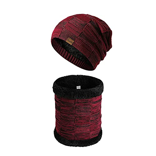 RG-FA Unisex de punto cálido bufanda forro polar invierno otoño mujeres Beanie cuello calentador bufanda polar hombres sombrero cuello bufanda - vino tinto