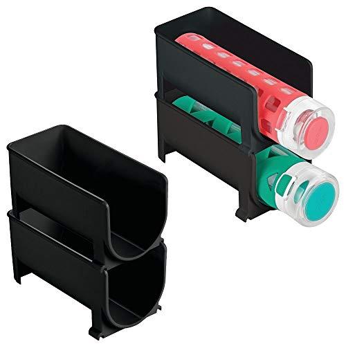 mDesign Juego de 4 Modernos estantes para Botellas – Botellero apilable para Botellas de Agua y cantimploras – Elegante vinoteca para la Cocina y la despensa – Negro