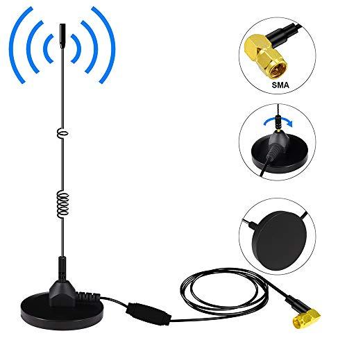 DAB Auto Antenne, Universal SMA Antennen DAB+ Adapter Digitaler Radioantenne mit Leistungsstarker Magnetischer + 3M Verlängerungskabel für AM/FM Autoradio Unterstützung für die Innenmontage