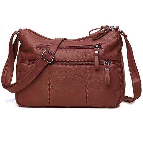 "Volcanic Rock Women Crossbody Bag Pocketbooks Soft PU Leather Purses and Handbags Multi Pocket Shoulder Bag (Red-11.8"")"