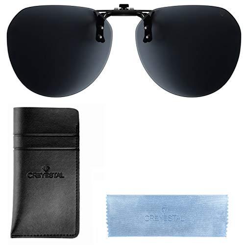 CREYESTAL Clip Gafas de Sol Polarizadas, Clip para Gafas Graduadas para Sol, Abatible, Ligero, Hombre, Mujer, 100% Anti-UV, Certificado CE
