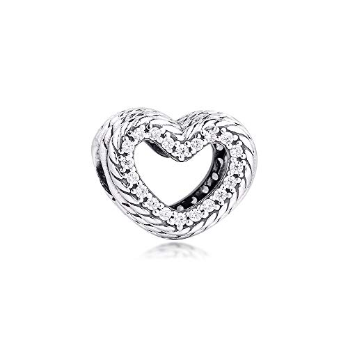 Pandora 925 pulsera de la joyería del patrón natural abierto encantos del corazón de la plata esterlina del encanto de los granos para las mujeres regalo de Diy