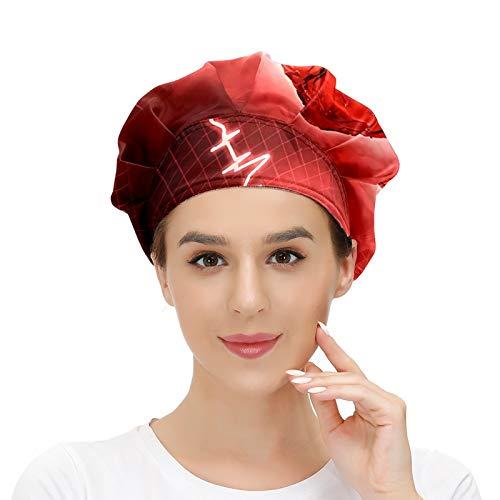 Cappello da donna per capelli lunghi con fascia elastica regolabile da lavoro per uomo Lavoro testa sciarpa 3D stampati cappelli battito cardiaco reale curva di frequenza cardiaca