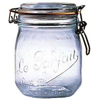 1 Le Parfait Super Jar - Wide Mouth French Glass Preserving Jars - Zero Waste Packaging (1, 750ml - 24oz - Pint & Half)